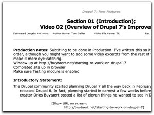 Image of video script