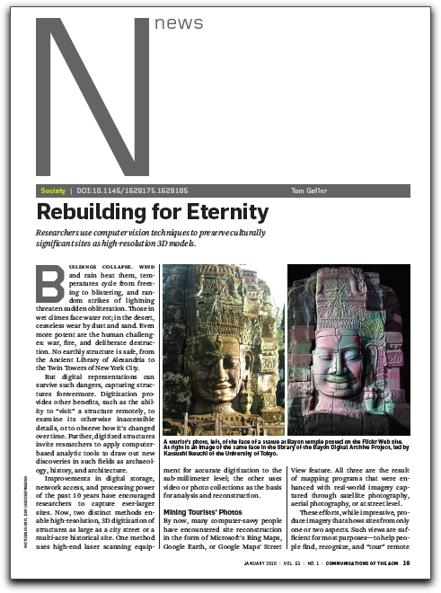 "First page of ""Rebuilding for Eternity"" article"