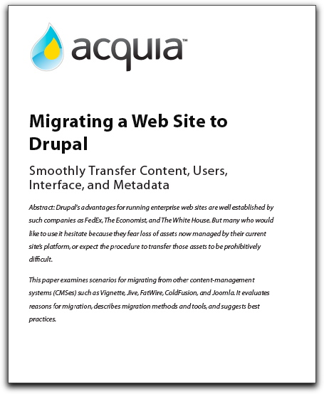 "Cover of ""Migrating a Web Site to Drupal"" white paper"