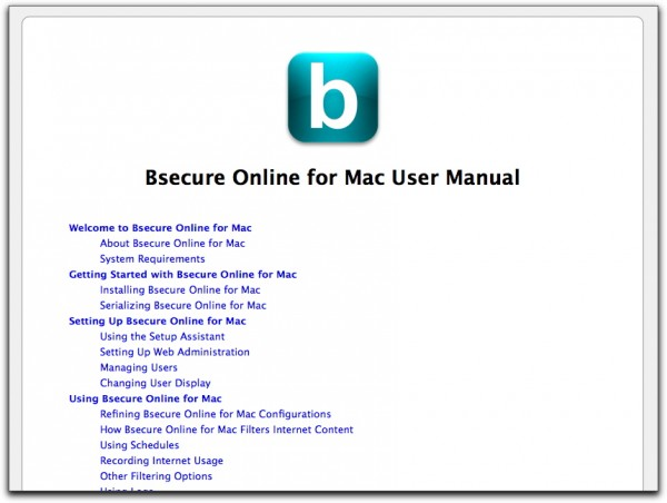 Top of Bsecure Online for Mac's online manual