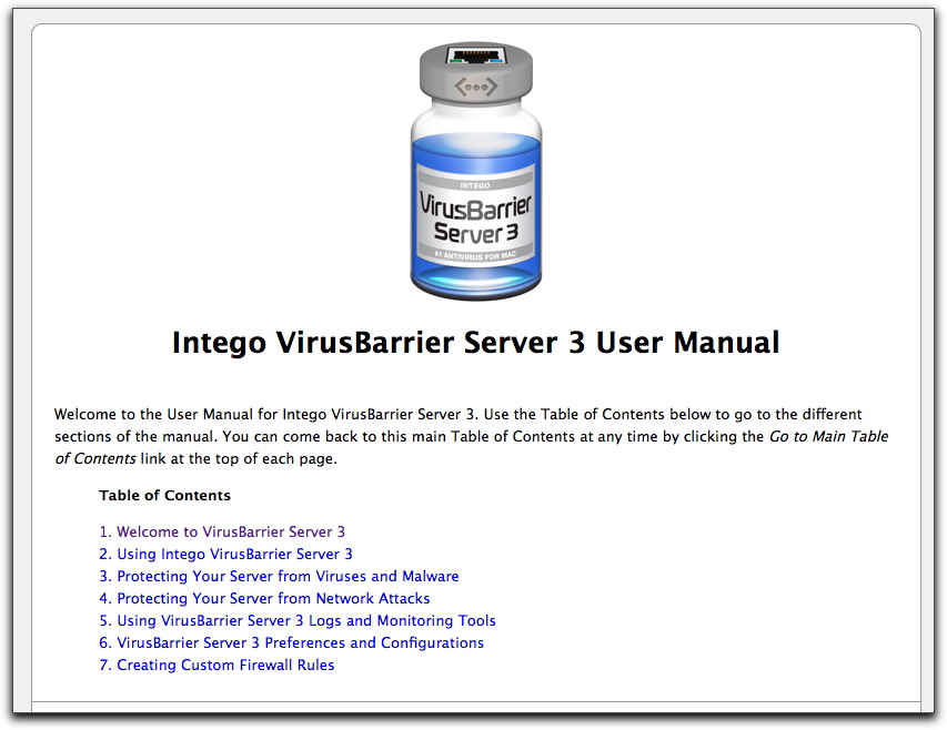 Top of Intego VirusBarrier 3 online manual