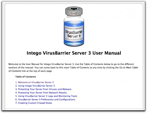 Top of Intego VirusBarrier 3 online manual