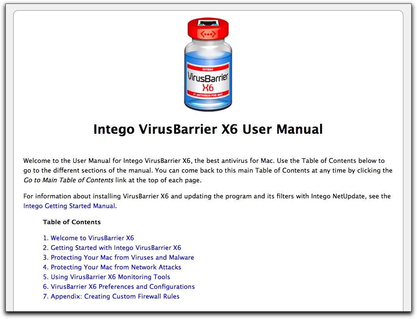 Top of VirusBarrier X6 user manual