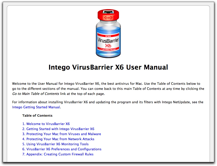 Top of VirusBarrier X6 user manual