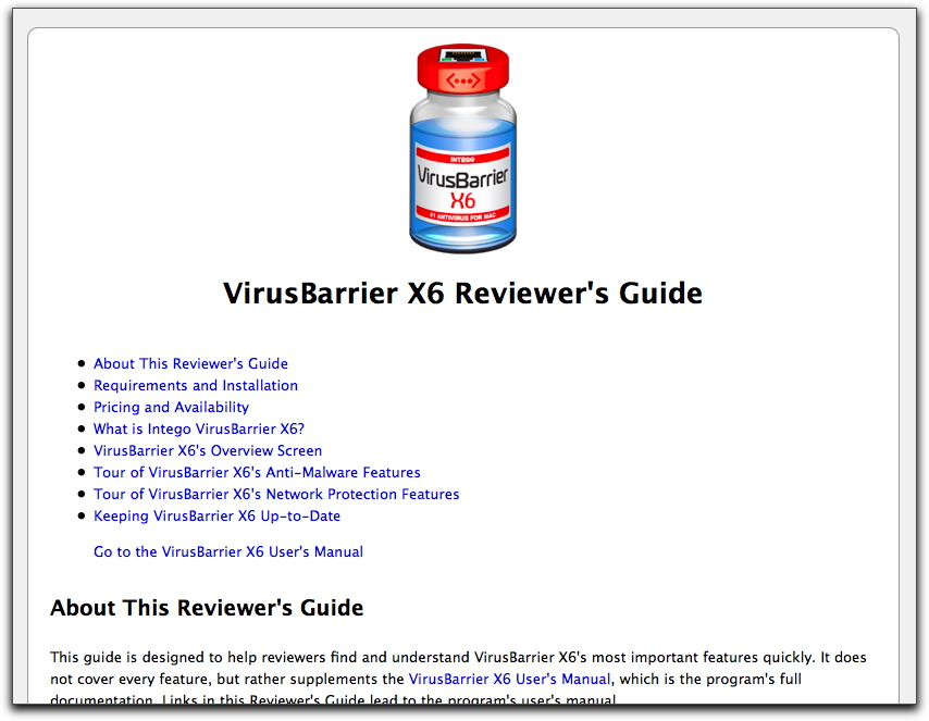 Top of VirusBarrier X6 Reviewer's Guide
