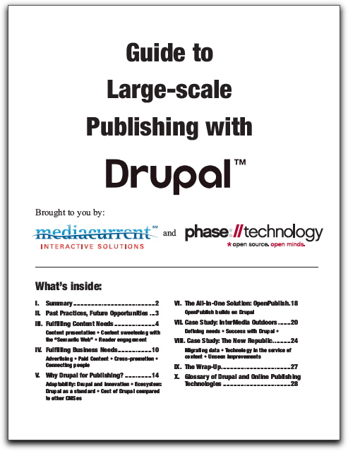 "Cover of ""Guide to Large-scale Publishing with Drupal"" paper"