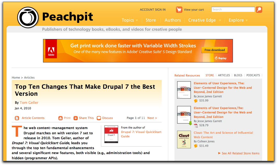 Top of the Peachpit.com page containing this article