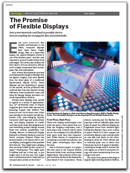 """First page of """"The Promise of Flexible Displays"""" article"""