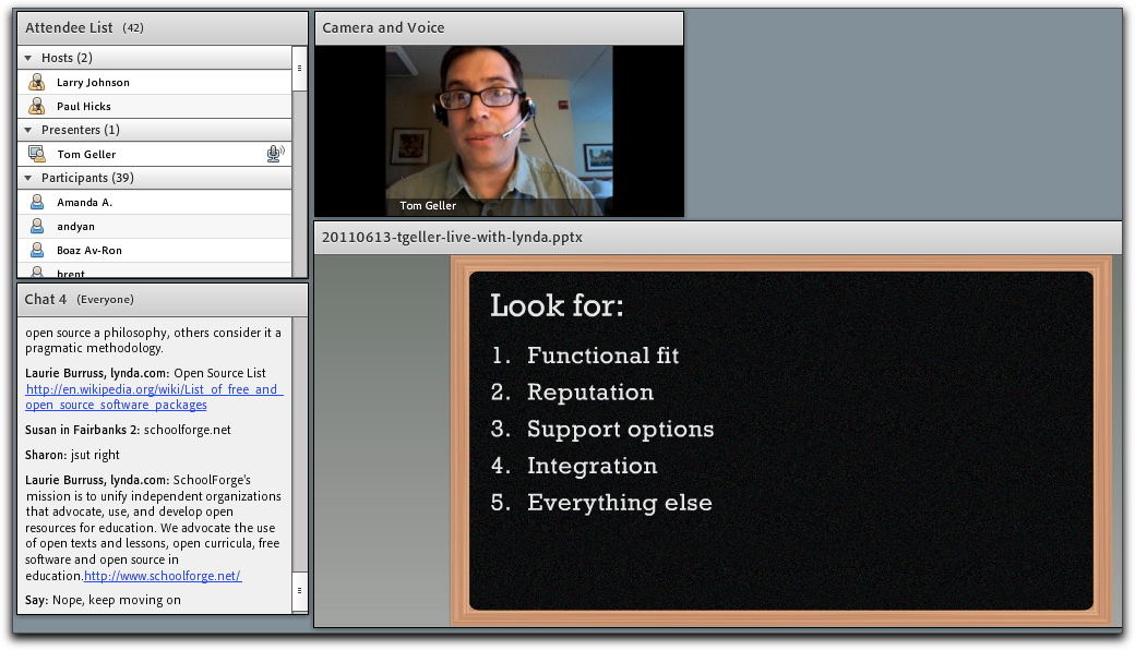 Screenshot from live presentation