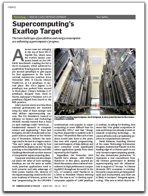 "First page of ""Supercomputing's Exaflop Target"" article"