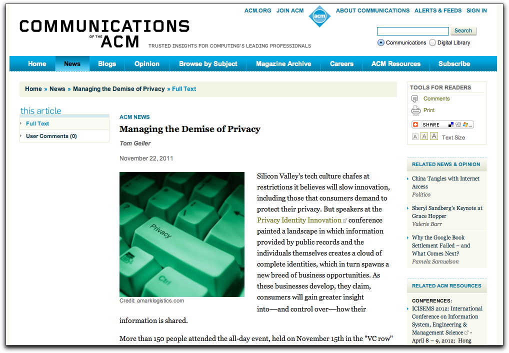Screenshot of CACM article about PII