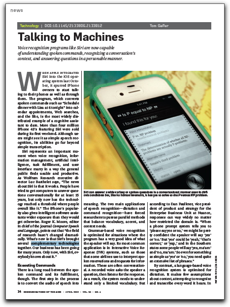 Screenshot of CACM article about speech recognition