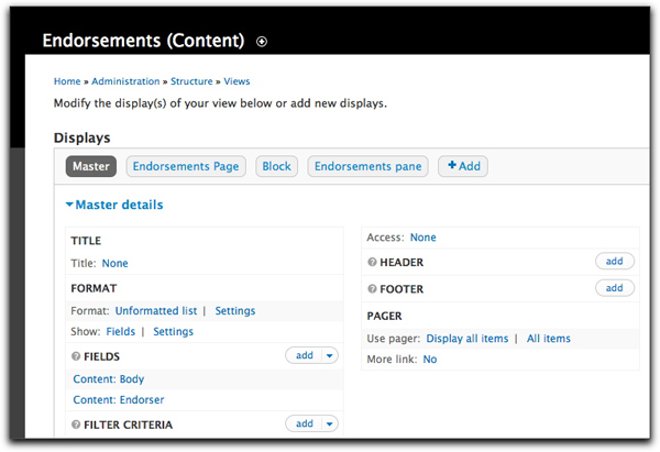 Screen shot of Views' administrative interface