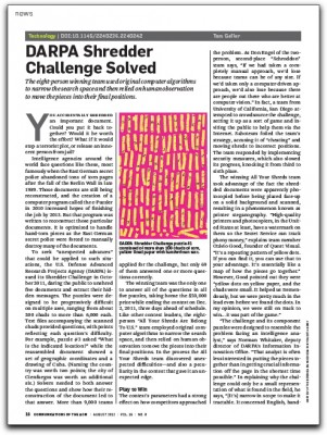 Screenshot of CACM article about the DARPA Shredder Challenge