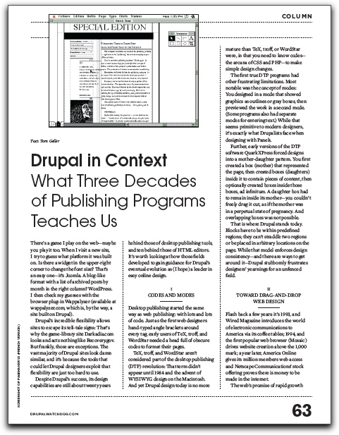 Screenshot of article in Drupal Watchdog Issue #3