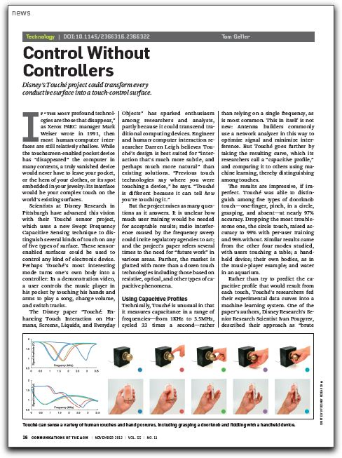Screenshot of CACM article about the Touché sensor project