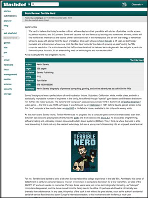 "Screenshot of my Slashdot book review of ""Terrible Nerd"""