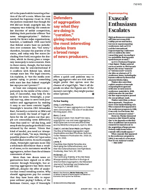 Screenshot of CACM article about exascale computing popularity