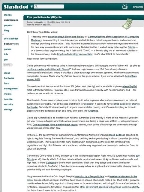 Screenshot of Slashdot article about (Bit)coin