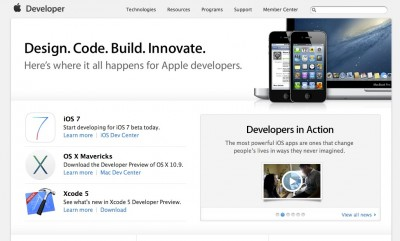 Screenshot of the Apple Developer Connection homepage