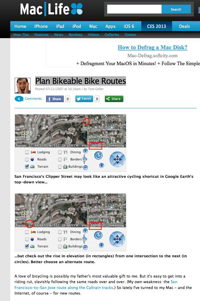 Screenshot of one of the six blog posts