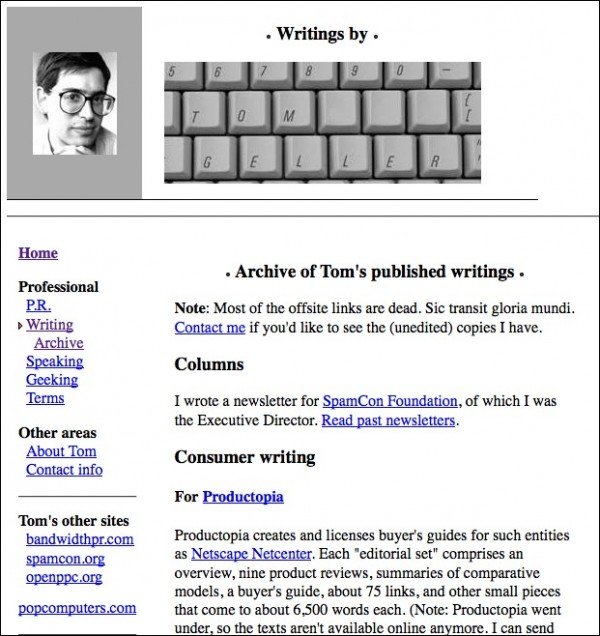 Screenshot of the website holding my pre-2005 writing