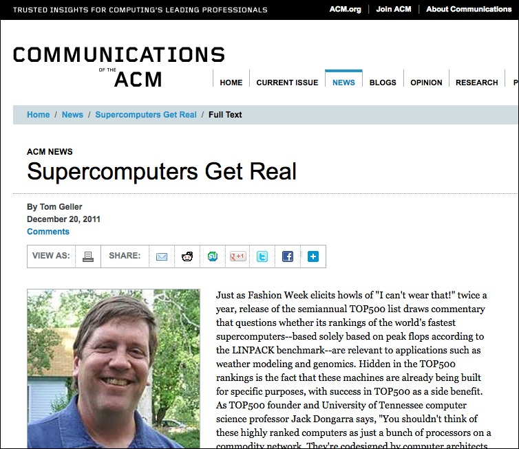 Screenshot of the article online