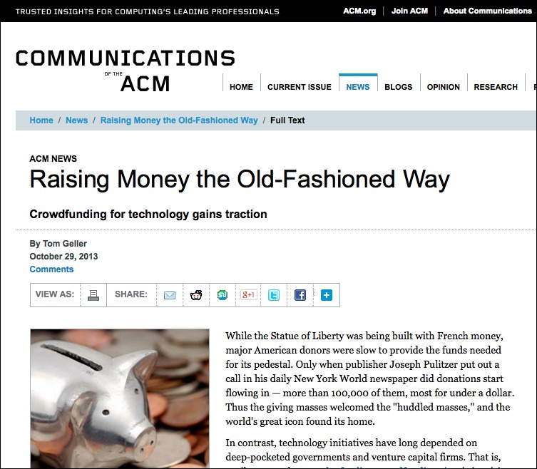 Screenshot of the article as it appeared online