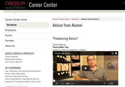 Screenshot of video as it appears on Oberlin College site