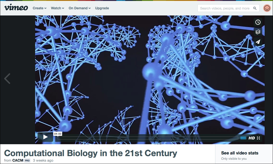 Screenshot of the video as it appears on Vimeo