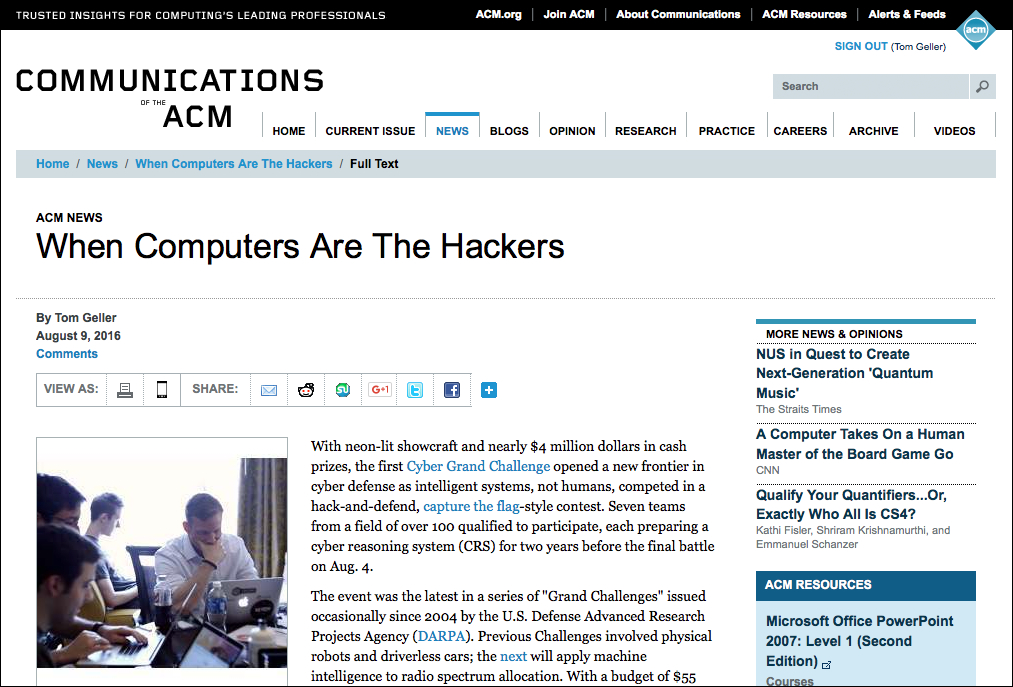 Screenshot of the article as it appears online