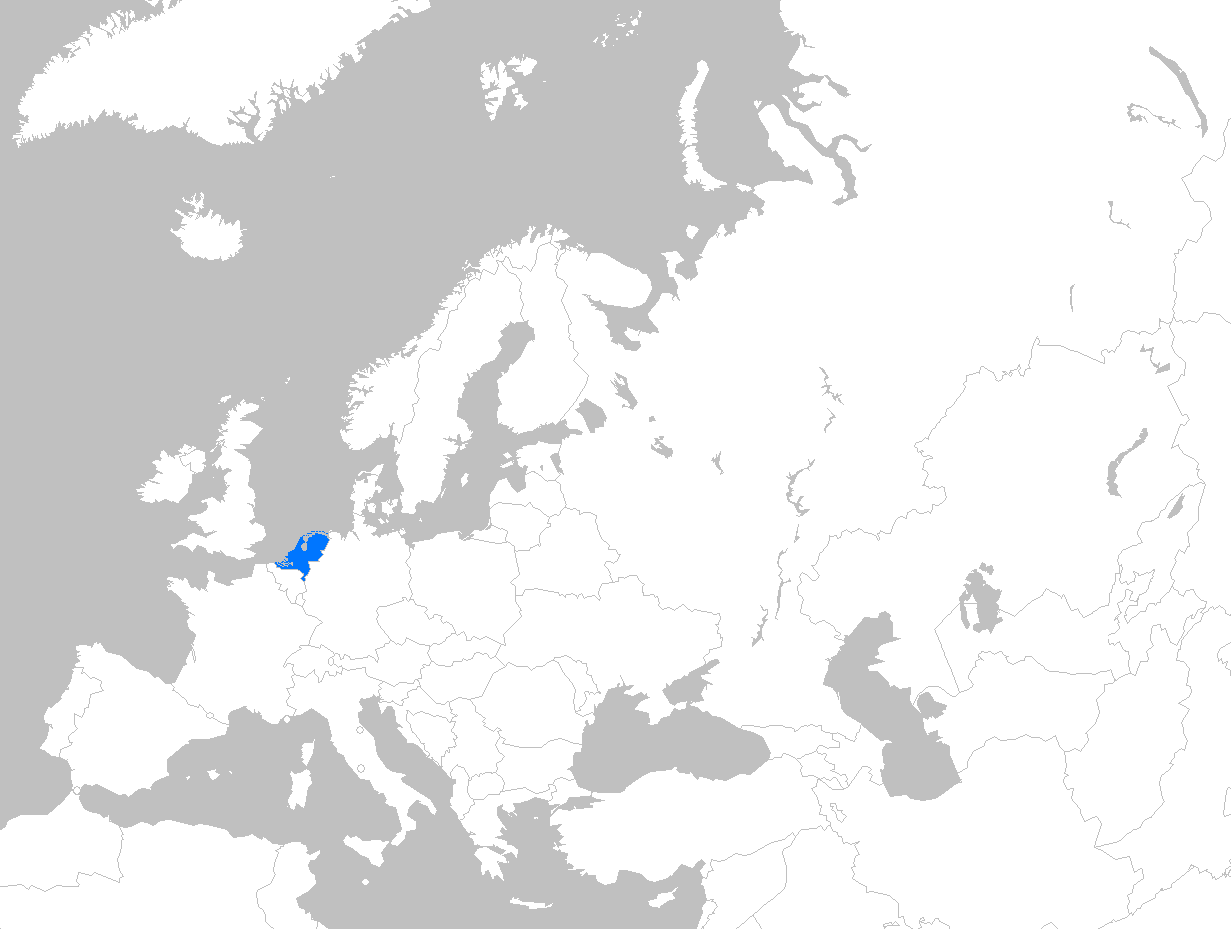 The Netherlands' position highlighted within Europe